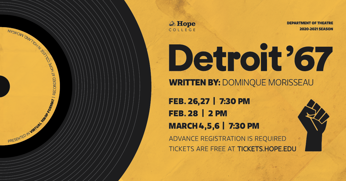 Poster for Detroit 67 with vinyl record and production details
