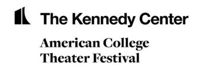 Black logo on white background reading Kennedy Center American College Theatre Festival