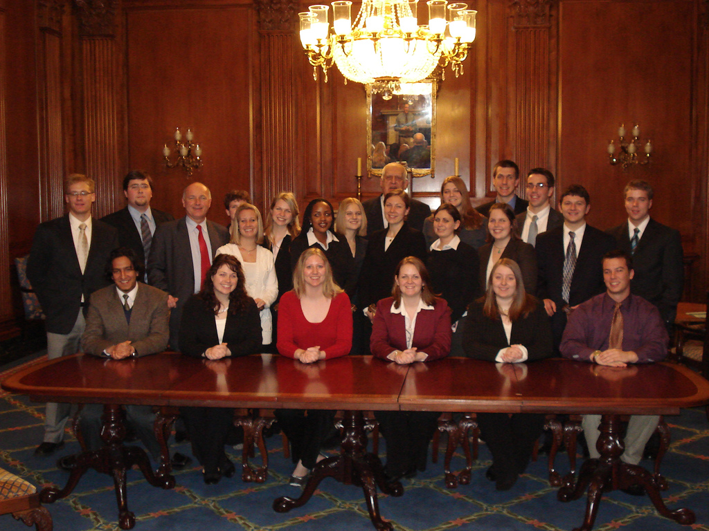Washington Honors Semester students with Senator Carl Levin