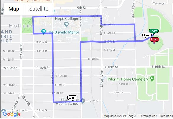 Map of Donut Run 5K Route