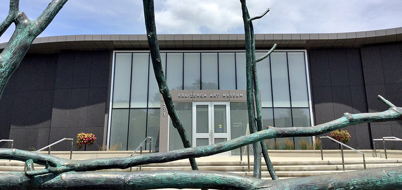 "Kruizenga Art Museum building viewed through the sculpture ""Ziibi Elpidos"""