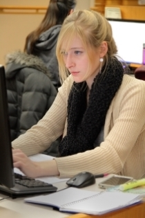 A student using a library computer