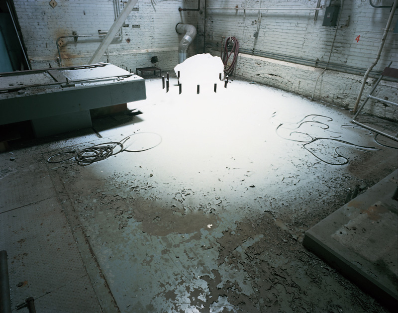 A photo of snow inside an abandoned paper mill in Plainwell, Michigan