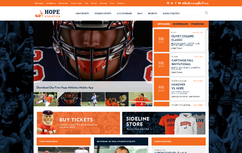 The new Hope Athletics website