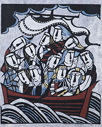 Calming the Waves. Sadao Watanabe. 1973. Stencil print. Hope College Collection