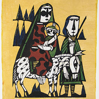 The Flight Into Egypt. Sadao Watanabe. 1973. Stencil print. Hope College Collection