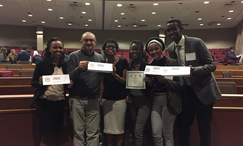 "Congrats to Mary Chikondi Ngoma (fourth from left), who was named a ""distinguished chair"" during this year's regional Model Arab League.  She is pictured with Eunice Maruhi, instructor Habeeb Awad, Michelle Mathenge, Makena Mugambi and Kenneth Munyuza."