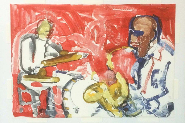 Out Chorus-Rhythm Section  Romare Bearden (American, 1911-1988)  1979  Color lithograph  Hope College Collection, 2016.3.2