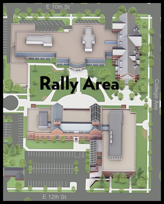 A map of the rally area, which is located in the commons between the Schaap Science Center and VanZoeren Hall.