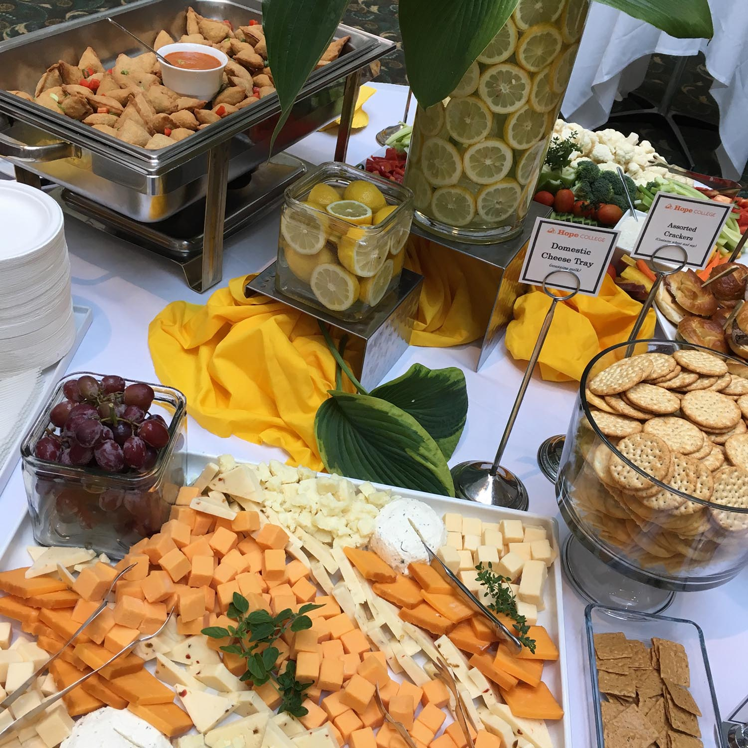 Catering set up with cheese and crackers