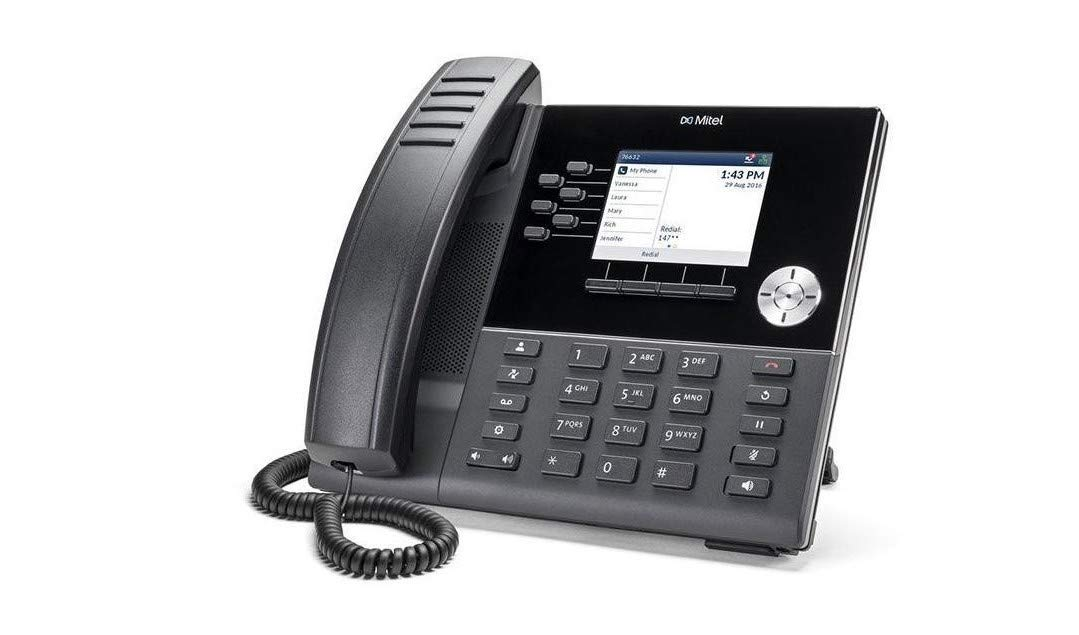 A desk phone with a small screen