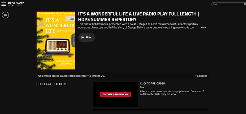 "Screenshot of the ""It's a Wonderful Life: A Live Radio Play"" page on Broadway On Demand"