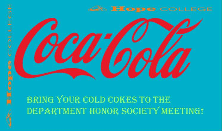 Example image of an announcement slide with giant, stretched-out Coca-Cola and Hope College logos all over it