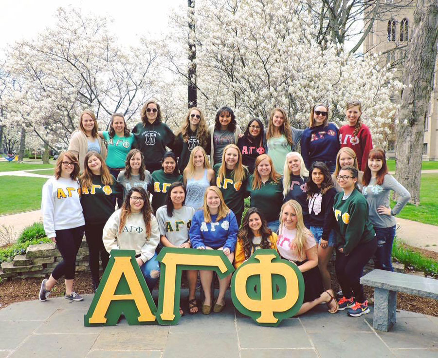 The women of the Alpha Gamma Phi sorority