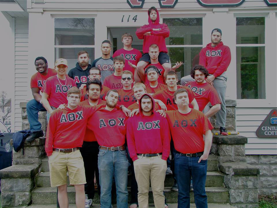 The men of the Alpha Theta Chi fraternity